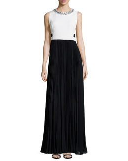 Sleeveless Combo Pleated-Skirt Long Dress