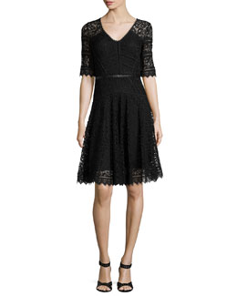 V-Neck Lace Party Dress W/ Leather Band