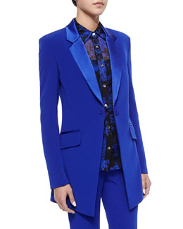 Long-Sleeve Smoking Jacket, Cosmic Cobalt