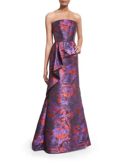 20477c844ad1 Carmen Marc Valvo Strapless Floral-Print Peplum Gown