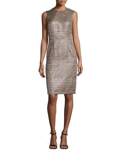 Sleeveless Metallic Tweed Cocktail Dress