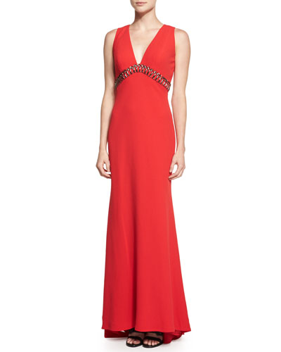 Sleeveless V-Neck Column Gown