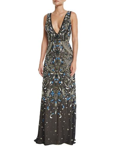 Sleeveless V-Neck Embroidered Gown