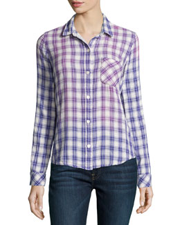 The Slim Boy Shirt, Cobalt Field Plaid