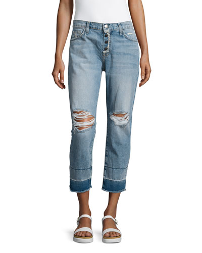 The Fling Distressed Cropped Jeans W/Exposed Fly, Knife Fight
