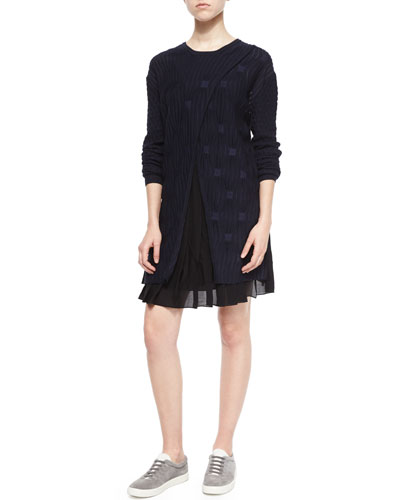Tuck-Front Crossover Sweaterdress, Black