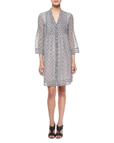 Layla Printed Silk Tunic Dress, Bali Lace Black