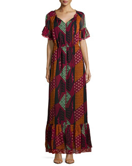 Jane Ethnic Collage Silk Maxi Dress, Red