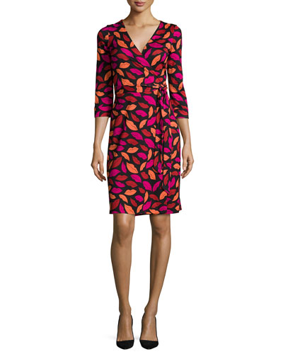 New Julian Lipstick-Print Wrap Dress