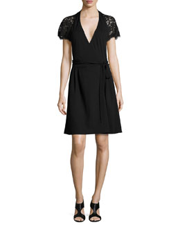 Elizabeth Lace-Sleeve Wrap Dress