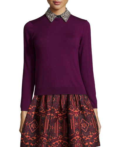 Rosalind Embellished-Collar Pullover Sweater, Burgundy