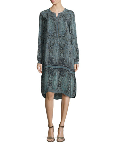 Lita Paisley-Print Long-Sleeve Dress, Navy