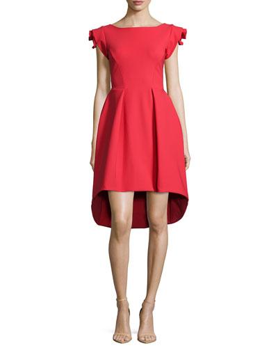 Rosette Cap-Sleeve High-Low Dress