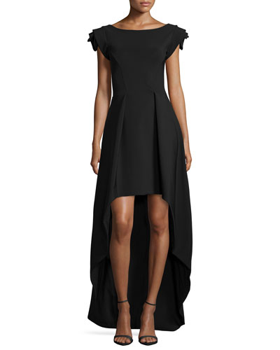 Dionne Rosette Cap-Sleeve High-Low Dress