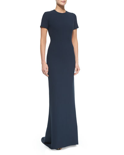 Leona Short-Sleeve Backless Dress, French Navy