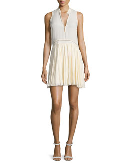Misha Sleeveless Pleated Dress, Vanilla
