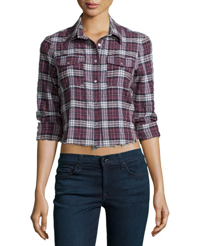 Buckley Shirt W/Frayed Hem, Black Cherry/Plaid