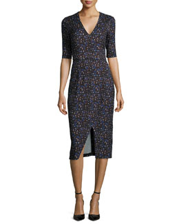 Paula Splatter-Print Sheath Dress