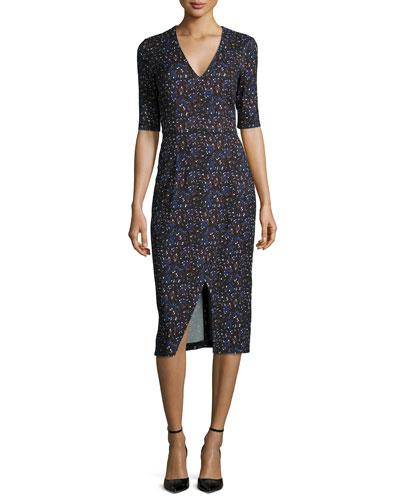 Paula Splatter-Print Sheath Dress