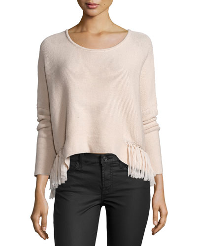 Kelly Ribbed Sweater W/Fringe Trim, Blush