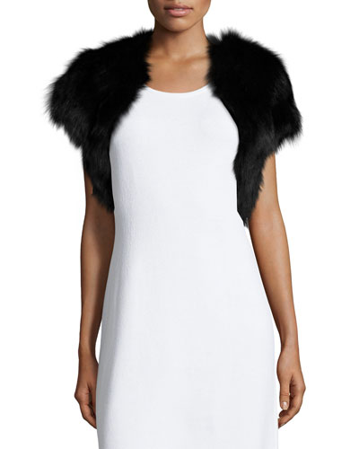 Fiona Fur Bolero Jacket, Black