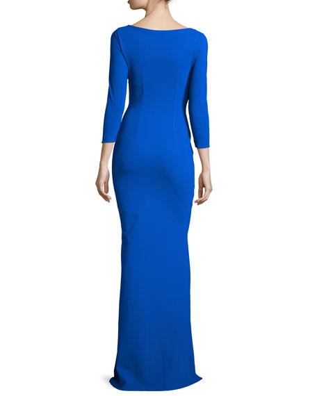 Ilenia 3/4-Sleeve Twist-Front Long Gown