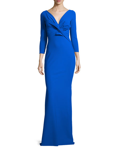 Ilenia 3/4-Sleeve Twist-Front Long Gown