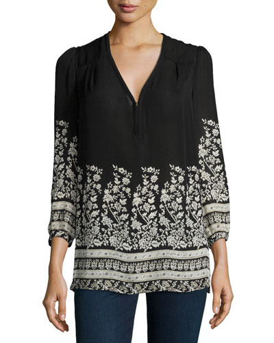 Riva Long-Sleeve Floral-Print Blouse