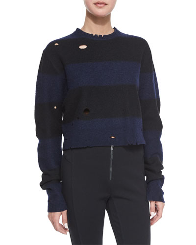 Striped Wool Cropped Sweater, Midnight