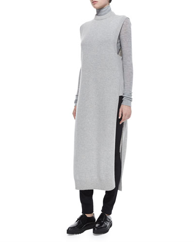 Mock-Neck Sleeveless Long Sweater, Heather Gray