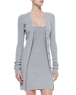 Long Fitted Cardigan, Heather Gray