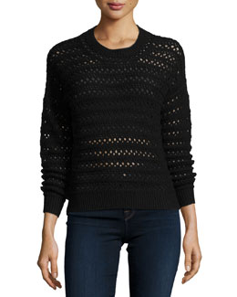 Flower Long-Sleeve Crochet Sweater, Black