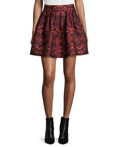 Stora Pleated Tribal-Print Skirt, Red/Orange