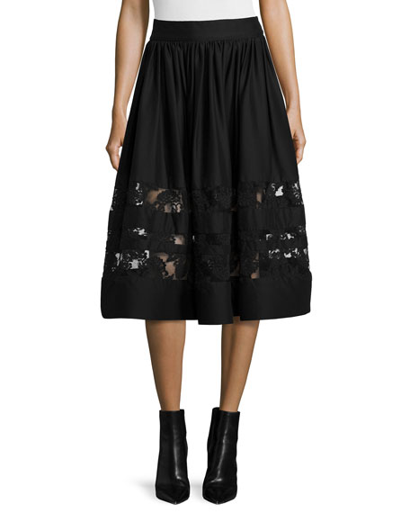 Tamia Lace-Trim Midi Skirt, Black