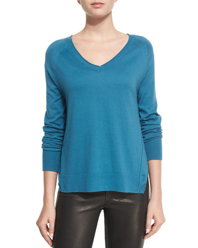 Pamona Long-Sleeve Sweater, Blue Steel