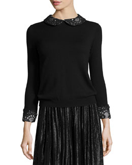 Lynda Wool Lace-Trim Pullover Sweater, Black