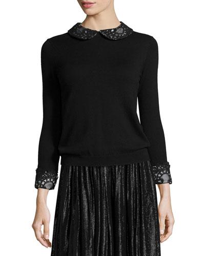 Lynda Wool Lace-Trim Pullover Sweater, Black