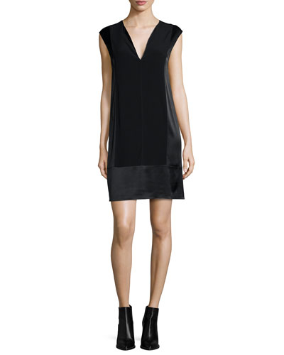 V-Neck Shift Dress, Black