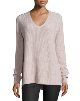 Ribbed Cashmere V-Neck Sweater