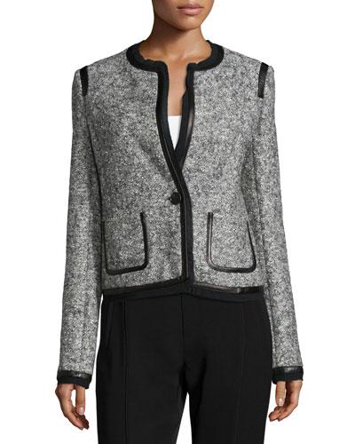 Leather Trim Boucle Jacket, Gray