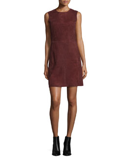 Sleeveless Suede Dress, Wisteria