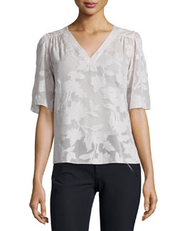 Short-Sleeve Magnolia Sheer V-Neck Top, Moonlight