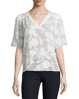 Short-Sleeve Magnolia Sheer V-Neck Top, Chalk