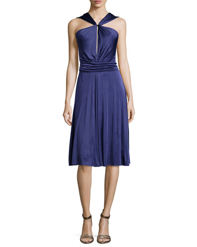 Gathered-Waist Dress W/Tie, Elderberry