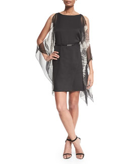 Kimono-Sleeve Caftan Dress