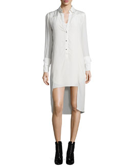 Long-Sleeve Tuxedo Shirtdress