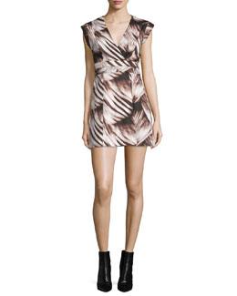 Sleeveless Fit-&-Flare Printed Dress, Black Wisp