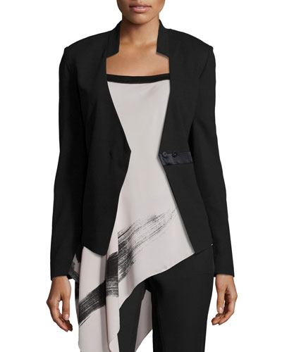 Long-Sleeve Fitted Blazer, Black
