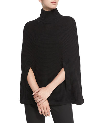 Mock-Neck Ribbed Poncho, Black