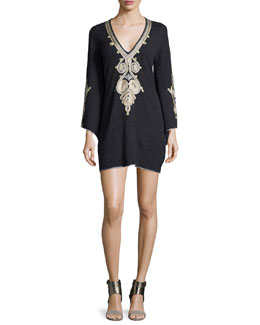 Ceria Embroidered Cashmere Sweaterdress, Charcoal